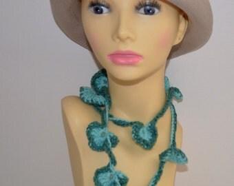 Crochet flower necklace, dusty blue