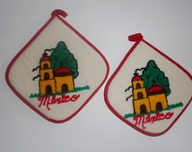 Vintage Set of 2 Embroidered Mexico Pot Holders