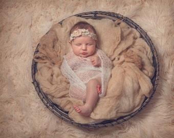 So Soft  ''Airy Loose''  Mohair Wrap & Tieback SET newborn baby knit photo prop