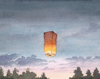 Sky Lantern, Summer, Watercolor, 8 x 10, Giclee Print, Celebration, In Memory