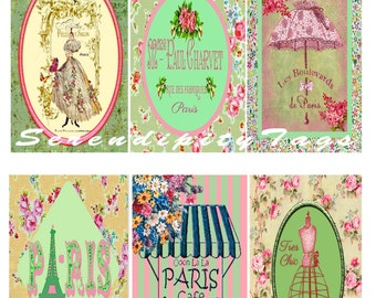 6 Shabby French Tags
