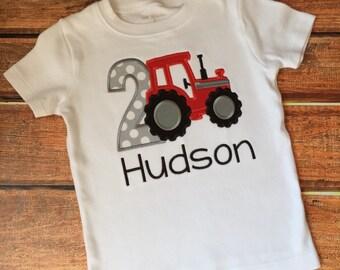 Tractor Birthday Shirt- Red Tractor Birthday Shirt - Farm Birthday Shirt - Farm Theme Birthday Onesie or Shirt - Farm 1st Birthday Shirt