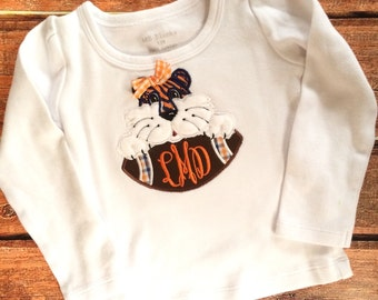 Applique Girl Auburn Tiger with Football Monogrammed Shirt or Onesie