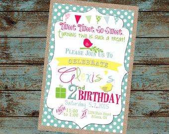 Tweet Tweet Little Birdie Birthday Invitation, Vintage Burlap Birthday Invitation, Little Girl Birthday, Bird Invitation, Digital File DIY