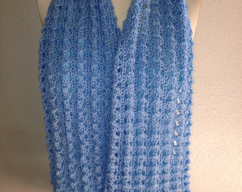 Hand knit scarf, lace scarf,