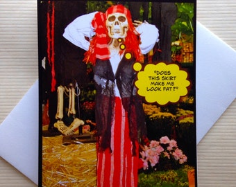 Funny Halloween Card - Funny Photo Card - Funny Skeleton Card - Funny Diet Card