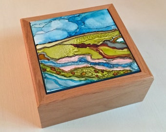 Dreamscape/Prarie School Style Alcohol Ink Porcelain Tile Jewelry/Trinket Box