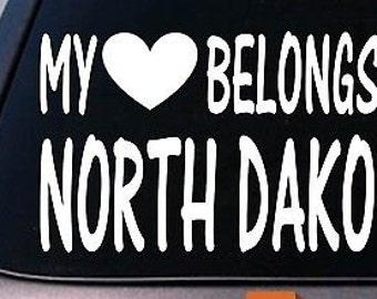 My Heart Belongs To North Dakota Sticker Decal *E029*