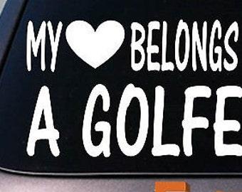 My Heart Belongs To A Golfer Sticker Decal *D888*