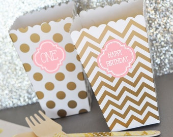 24 Pink & Gold Baby Shower Favor Boxes Personalized Popcorn 'n Treats Boxes Treat Boxes, Bridal Shower Popcorn Boxes, Birthday Box (EB4008P)