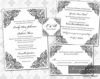 DIY Printable Wedding Invitation Template Set | Printable Invitation Suite (5x7) | Baroque in Black