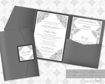 Printable Pocket Folder Invitation Digital Template | Wedding Instant Download Pocket Invitation (wide) | Baroque in Charcoal