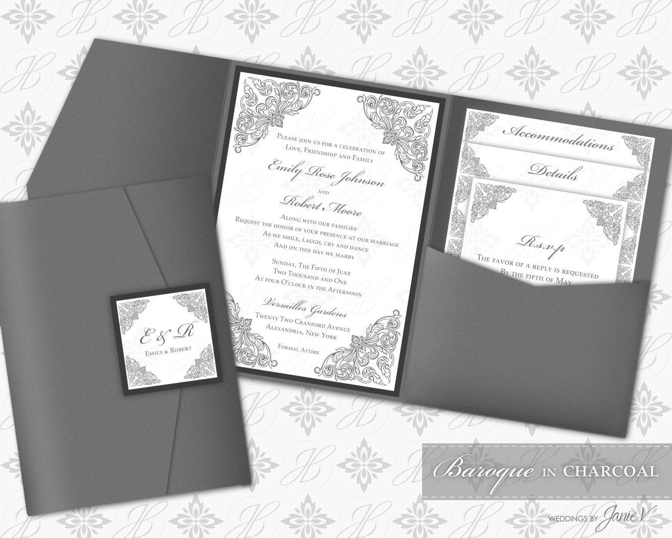Wedding Invitation Pocket Folders: Printable Pocket Folder Invitation Digital Template Wedding