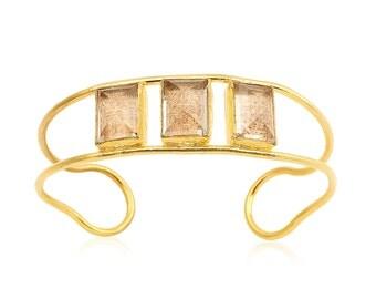 Smokey Quartz Cuff Bracelet. 18k Gold Plated Cuff.
