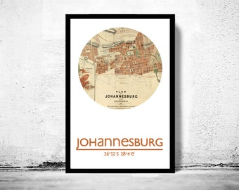 JOHANNESBURG - city poster - city map poster print