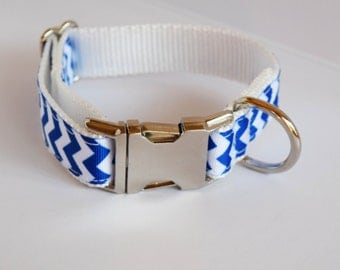 Big Blue Chevron Dog Collar