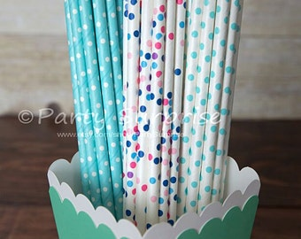 Baby Blue Straws, Polka Dot Paper Straws, Gender Reveal Straws Baby Shower Kids Princess Girl Boy Party Polka Dot Paper Strws