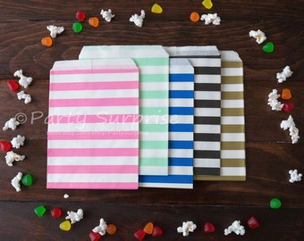 Party Bags Candy Bags Favor Bags Wedding Favor Bags Rugby Stripe Black Gold Mint Pink Navy Bags Candy Buffet Bags Party Small Striped Bags