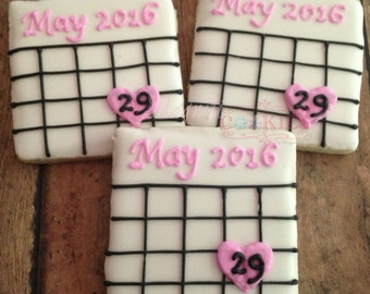 Save the Date wedding bridal shower engagement decorated cookies - PERSONALIZED!!