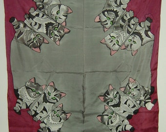 pink and grey handpainted silk scarf with cats