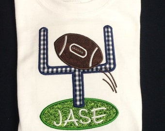 Monogrammed and Appliqued Football Goal Body Suit for Baby Boy 0-18 months or a T-shhirt 18 months -3T. 4-5 6/7 Personalized Football Goal