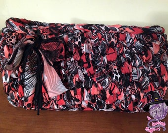 Red, black and White Ribbon bag