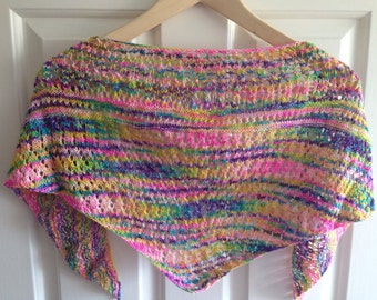 Summer cotton wrap, cotton lace knit shawlette - hand dyed cotton yarn in Sunset Boulevard