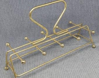 Vintage gold wire metal glass holder mid century modern