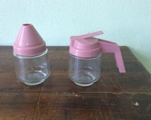 Vintage pink gemco cream and sugar set, Gemco pink serving, gemco creamer, gemco sugar