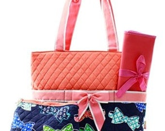 Quilted Bow Tie 3pc Diaper Bag Set