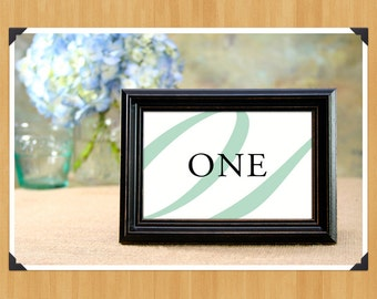 Printable Table Numbers 1-20 for Weddings or Showers, Cursive, Elegant, DIY, Instant Download, Printable PDF, Mint Green and Black