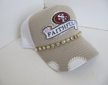 Bling Hats, SF 49er Trucker Hat, SF, 49er, Tan Trucker Hat, Football Team,  Bling Hat, Spirt Hat, Womens Hat, Sworovski Crystal Hat