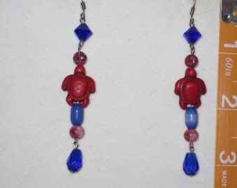 Red Turtle Stone Bead Earrings