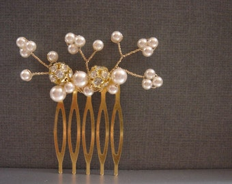 Clarez Gold Pearl Cluster Bridal Hair Comb - Wedding Hair Comb - Gold Rhinestone Hair Comb - Gold Flower Hair Comb - Delicate Hair