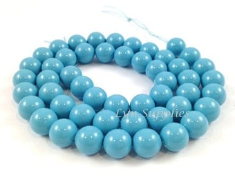 5810 TURQUOISE 12mm Swarovski Crystal Round Pearls 10 pieces Blue Gemstone Color