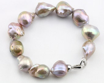Large baroque pearl bracelet,natural metallic jumbo flameball pearl necklace,big fireball nucleated pearl necklace,genuine freshwater pearl