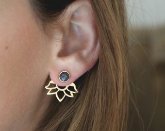 Ear Jackets Blue Sapphire, Sapphire Earrings, Ear Cuff , Stud Earrings, Fan Earrings, Flower Ear Jackets