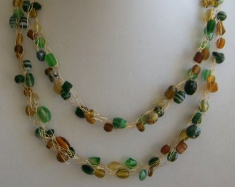 Shades of Green/Gold Braided Necklace