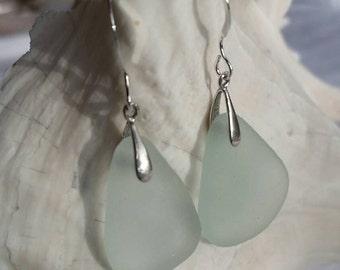 Large Aqua Sea Glass Earrings