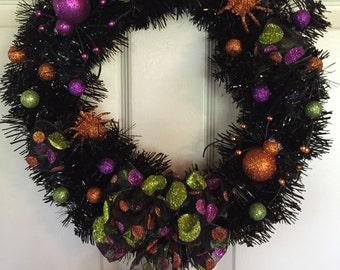 Halloween Wreath, Spider Wreath. Black Wreath. Holiday Wreath, Handmade Wreath. Handmade Halloween Wreath