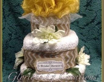 Golden Rustic Bridal Shower          Towel Cake