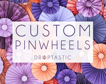 10pc Set of Paper Pinwheel's you choose colors Rosette  Flower Party Decoration wedding birthday shower pinwheel decour pinwheels paper fan