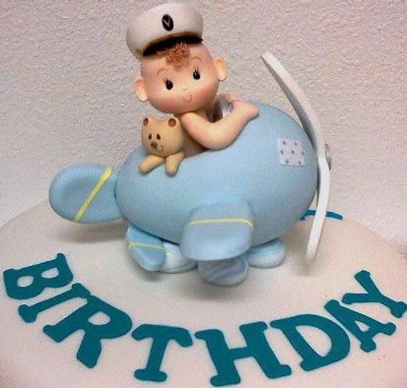 Airplane cake topper piolot cake topper airplane cake for Airplane cake decoration
