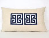 Greek Key Pillow Cover - Off-White Linen Pillow with Navy Greek Key Appliqué