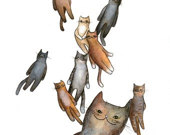 Floating Kitties Giclee Print