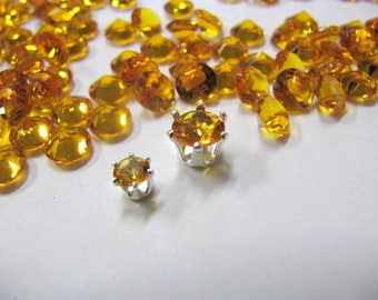 Synthetic CZ Faceted 6MM or 4MM, Amber Topaz, Loose, Snap Set, Wire Wrapping, Jewelry Findings, Rings, Bracelets, Choose Your Amount