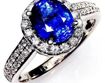 Blue Sapphire & Diamond Ring, 2.09 ct Oval Cut Ceylon Sapphire - GIA G. G Appraisal