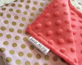 15 inches x 15 inches Gold dot lovey security blanket - coral minky, gold coral nursery, girl baby shower gift, toddler security blanket