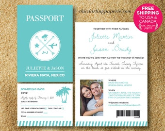 FREE SHIPPING Printed or Digital Passport Wedding Invitation RSVP Set | Destination Wedding Invitation