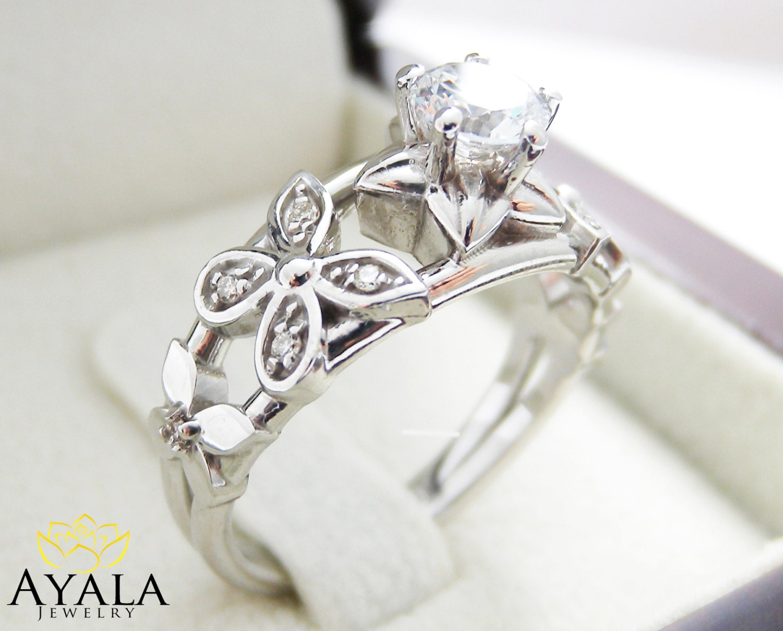 14K White Gold Flower Engagement Ring Moissanite Ring Flower